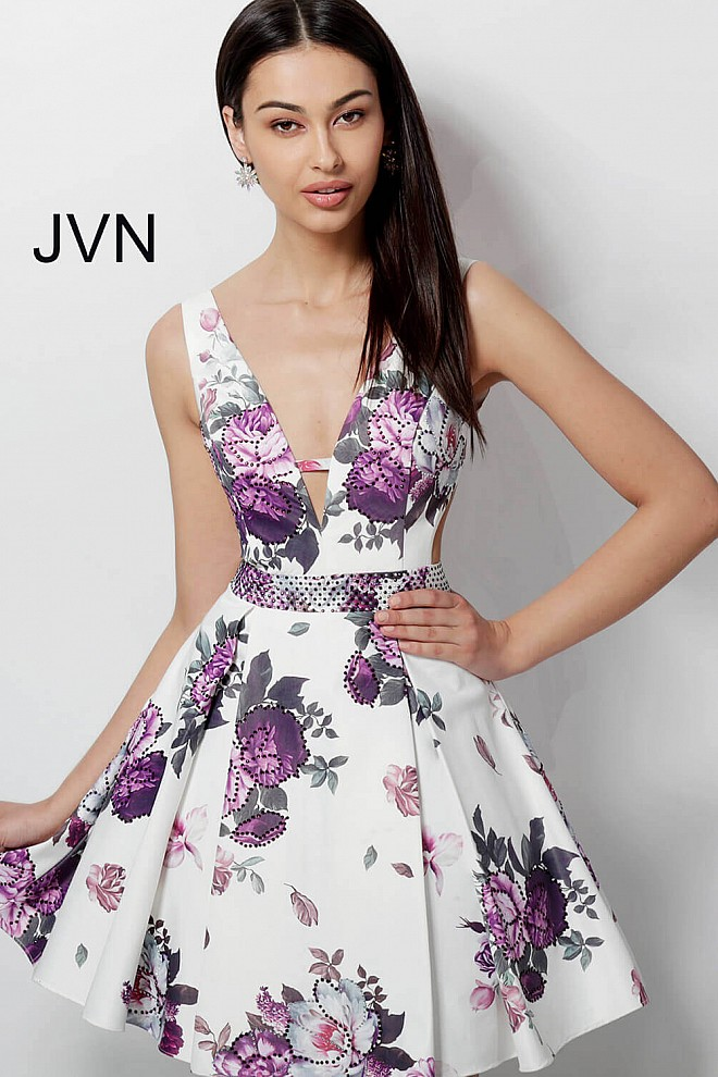 White Floral Print Embellished Belt Fit and Flare Homecoming Dress JVN62625