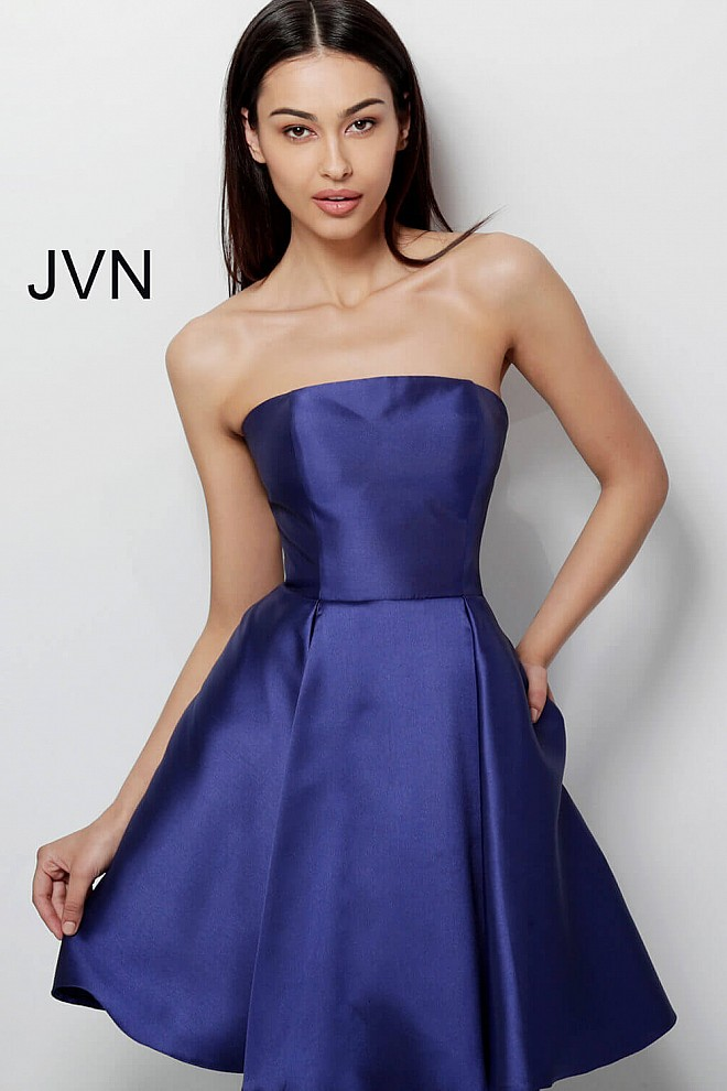 Navy Strapless Fit and Flare Homecoming Dress JVN62634