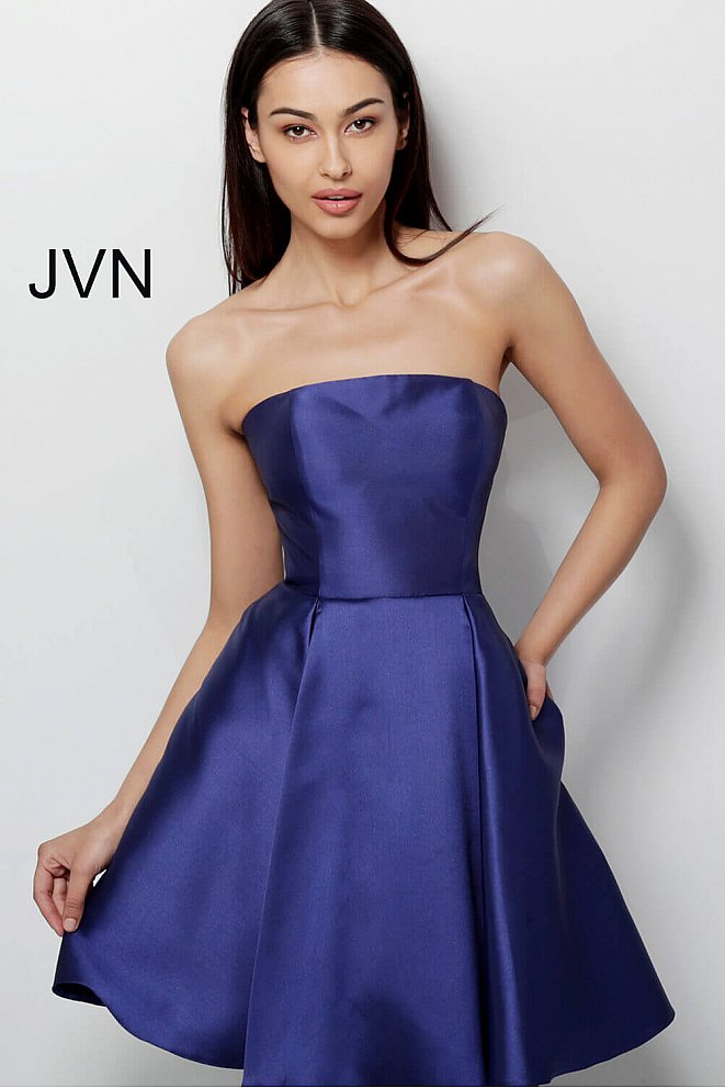 JVN62634 Navy Strapless Fit and Flare Homecoming Dress