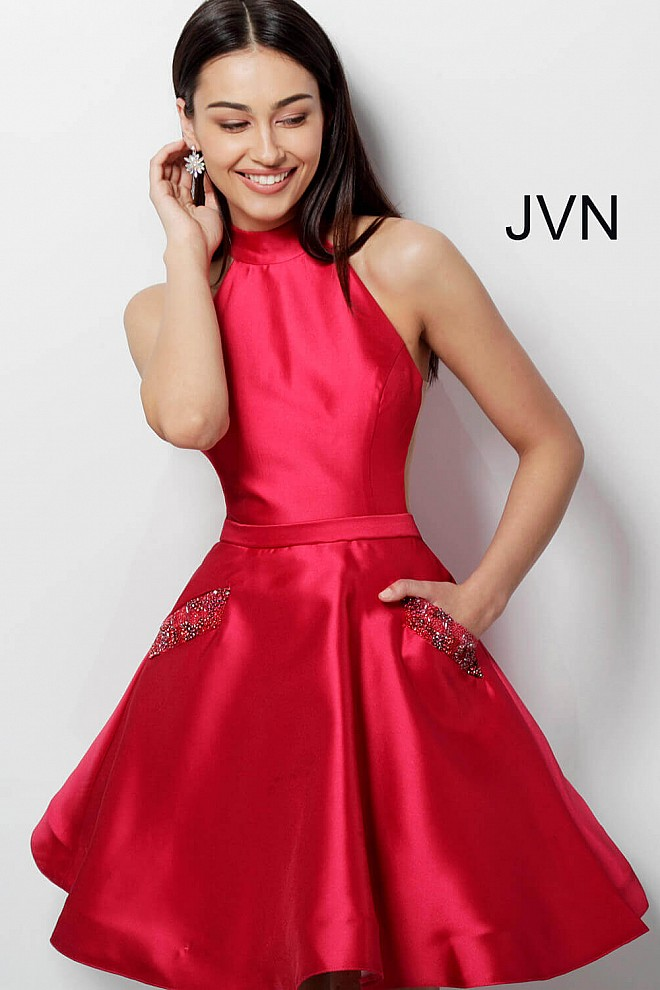 Red High Neck Fit and Flare Homecoming Dress JVN62836