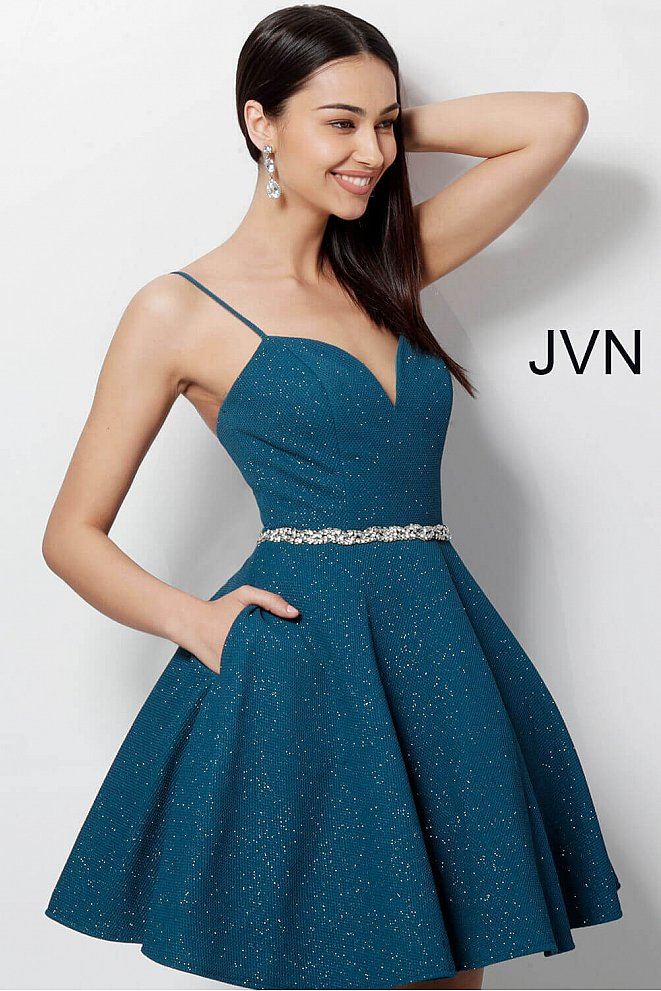 JVN62917 Peacock Fit and Flare Sweetheart Neckline Homecoming Dress