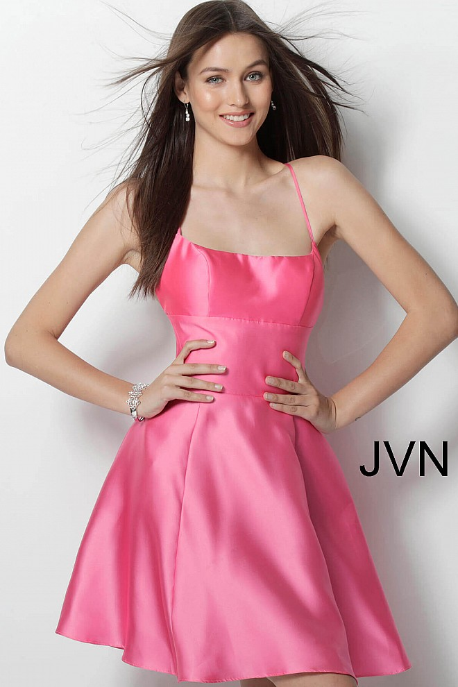 15ac9e1003ff pink spaghetti straps short fit and flare short dress with sexy open ...