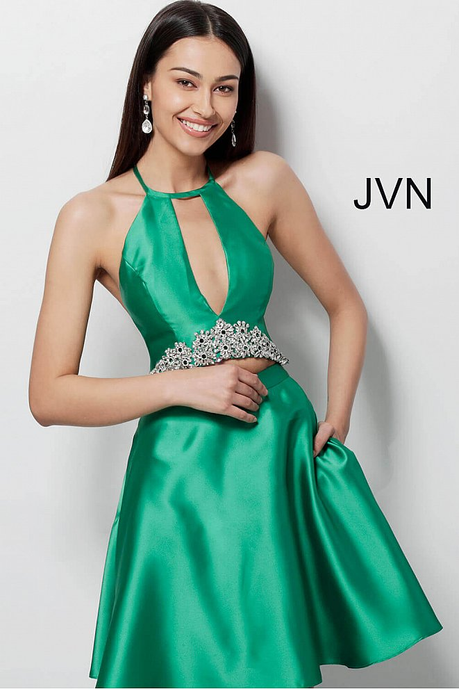 JVN63123 Emerald Two Piece Fit and Flare Homecoming Dress