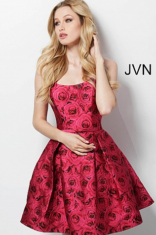 Rose Print Fit and Flare Pleated Skirt Homecoming Dress JVN63387