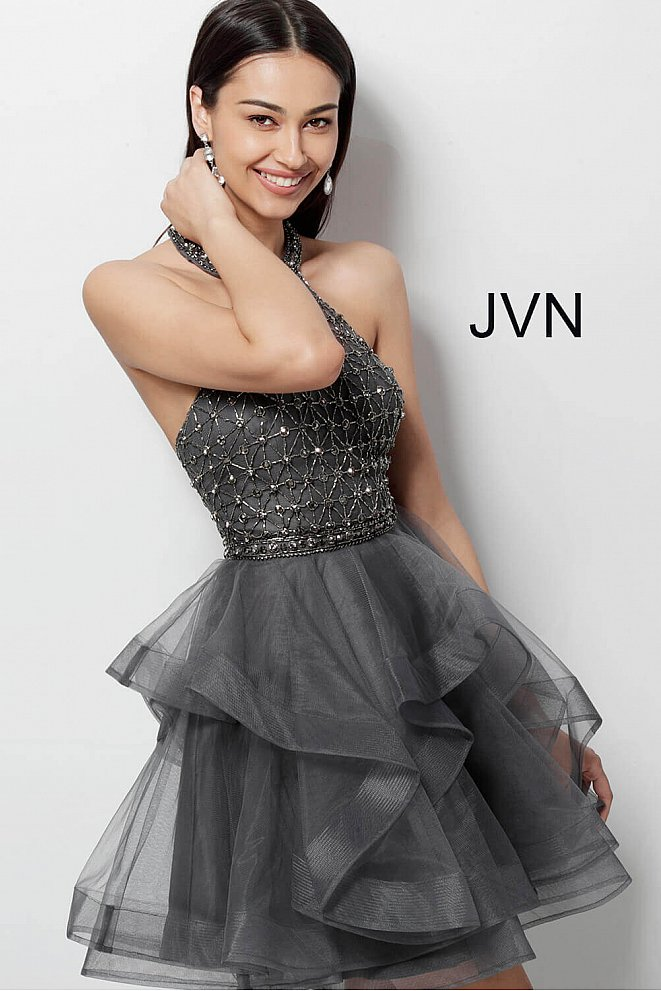 JVN635601 Charcoal High Neck Beaded Bodice Homecoming Dress