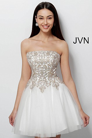 Off White Gold Fit and Flare Embroidered Homecoming Dress JVN63635