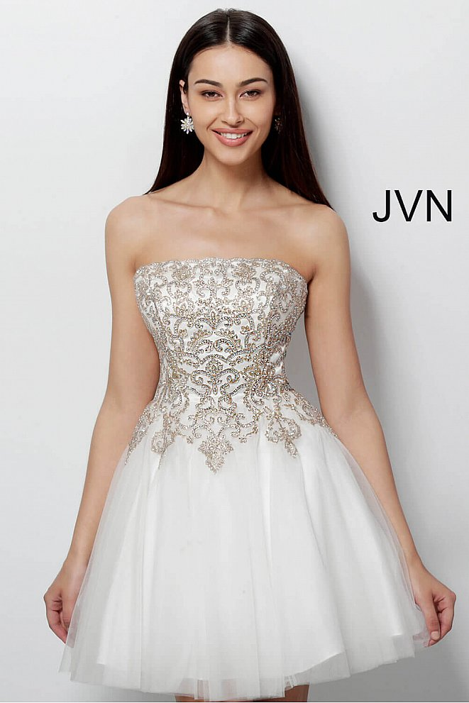JVN63635 Off White Gold Fit and Flare Embroidered Homecoming Dress