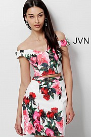 Floral Print Two Piece Fitted Homecoming Dress JVN64961