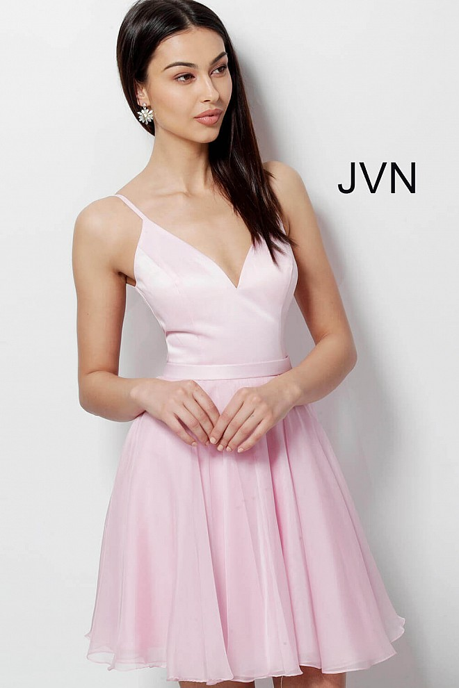 d4f344a8db43 Pink short fit and flare spaghetti straps V neck homecoming dress.
