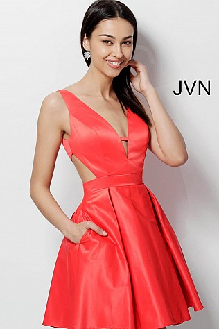 Cherry Fit and Flare V Back Homecoming Dress JVN65167