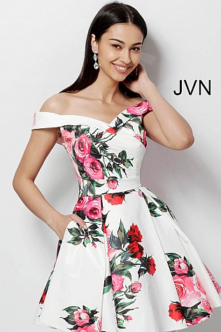White Print Off the Shoulders Sweetheart Neck Homecoming Dress JVN65429