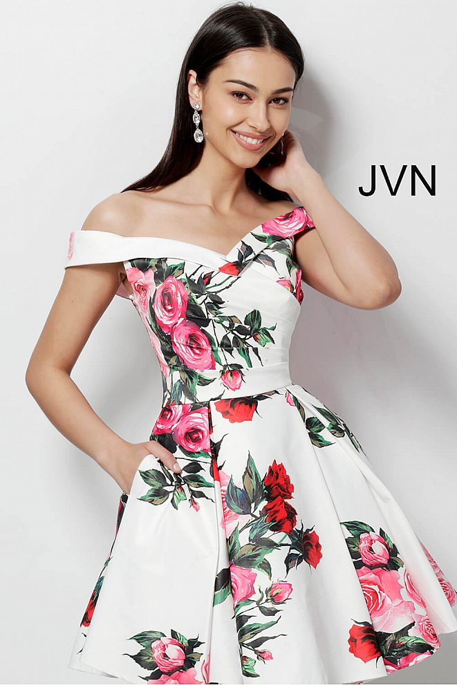 JVN65429 White Print Off the Shoulders Sweetheart Neck Homecoming Dress