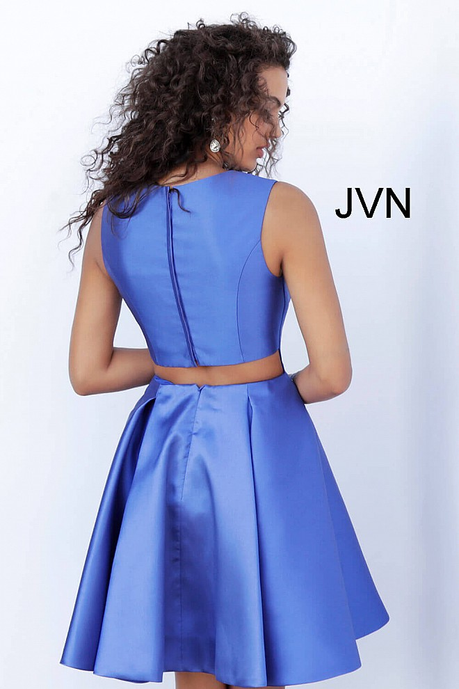 045bfbbfb2b4fc Royal Blue High Neck Fit and Flare Short Cocktail Dress