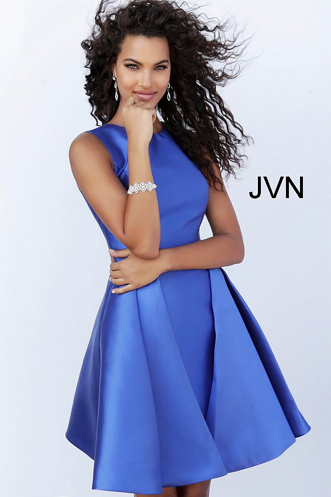 JVN65488 Royal Fit and Flare High Neck Cocktail Dress
