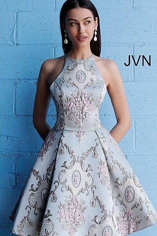 Blue Multi High Neck Open Back Homecoming Dress JVN65513