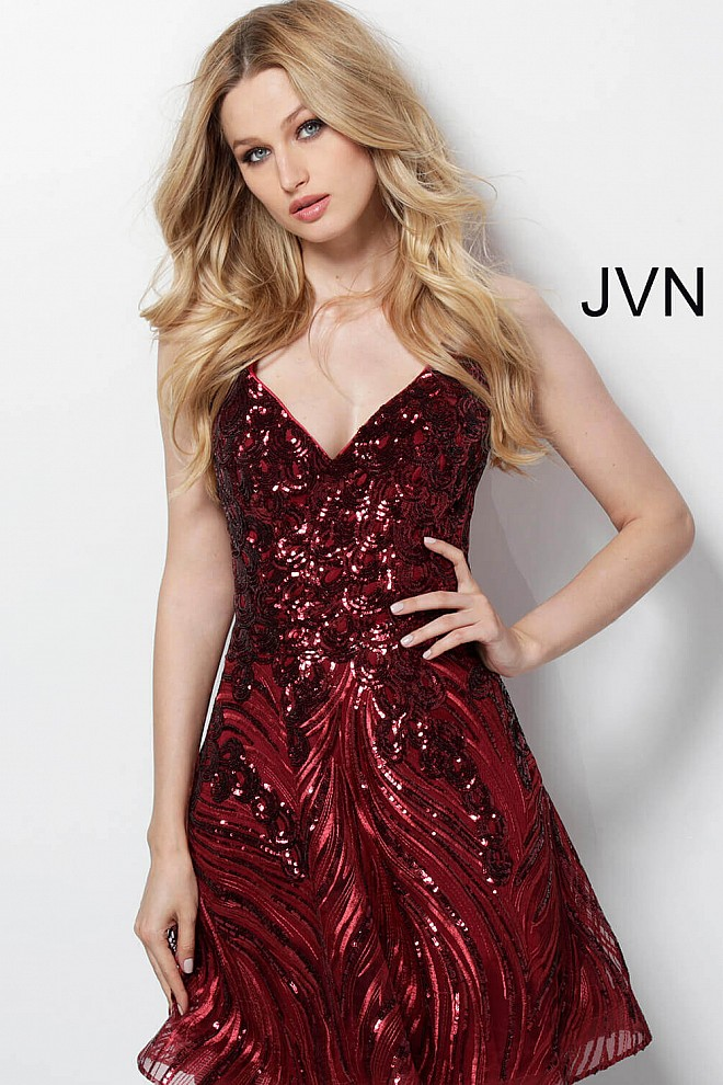 f0472098ca7 Burgundy short fit and flare beaded open back sleeveless dress.