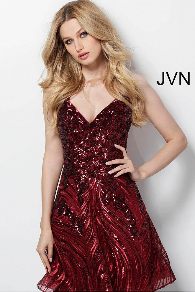 JVN65805 Burgundy Sequin Fit and Flare Homecoming Dress