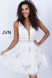 White Multi Plunging Neckline Lace Short Dress JVN65819