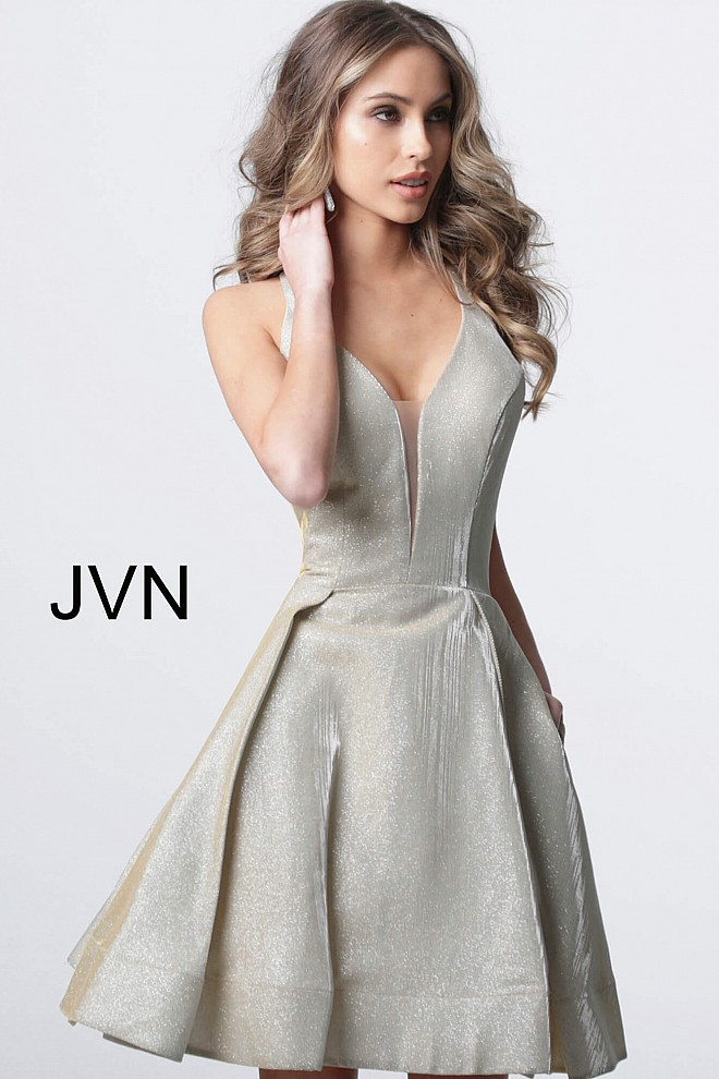 Champagne Plunging Neckline Fit and Flare Cocktail Dress JVN65852
