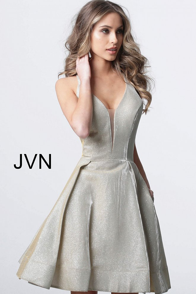 JVN65852 Champagne Plunging Neckline Fit and Flare Cocktail Dress