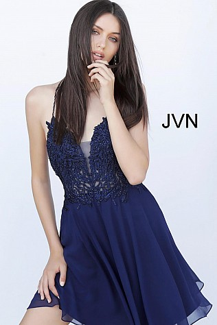 Navy Spaghetti Straps Embroidered Cocktail Dress JVN65899