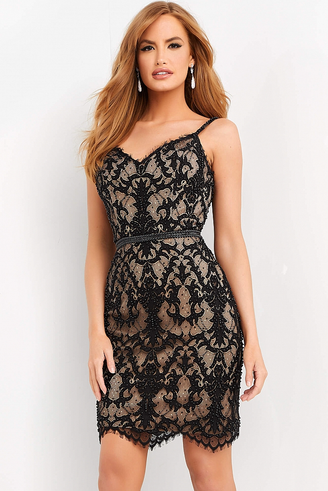 JVN65992 Black  Nude Embellished V Neck Cocktail Dress