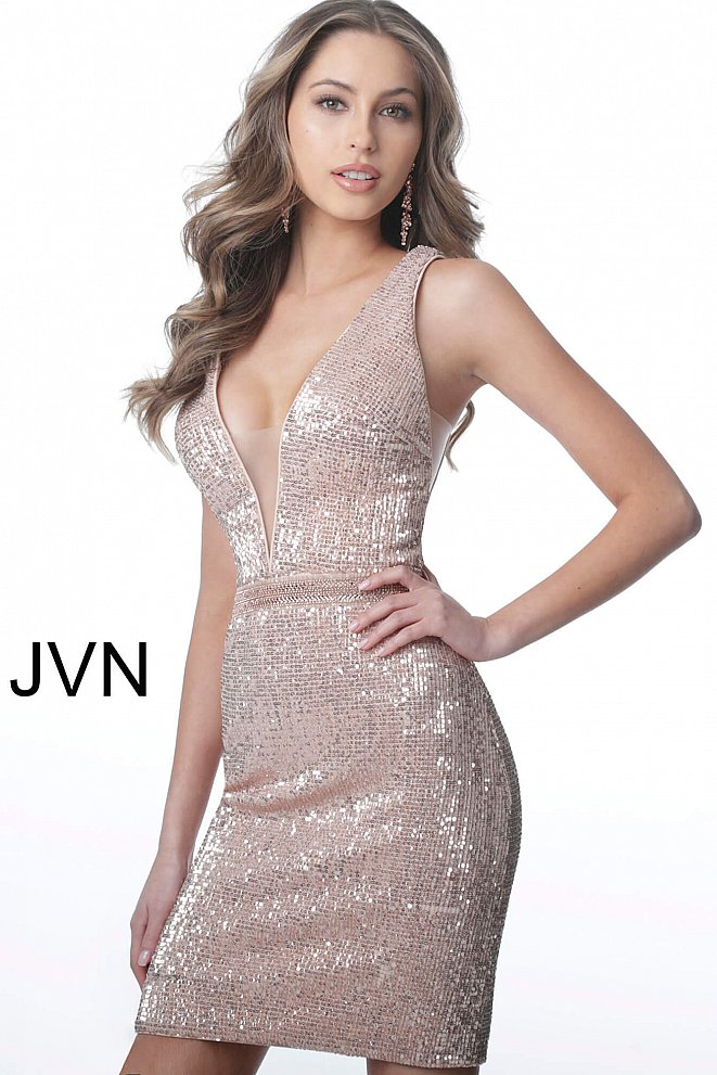 JVN66030 Champagne Sequin Fitted Sleeveless Cocktail Dress