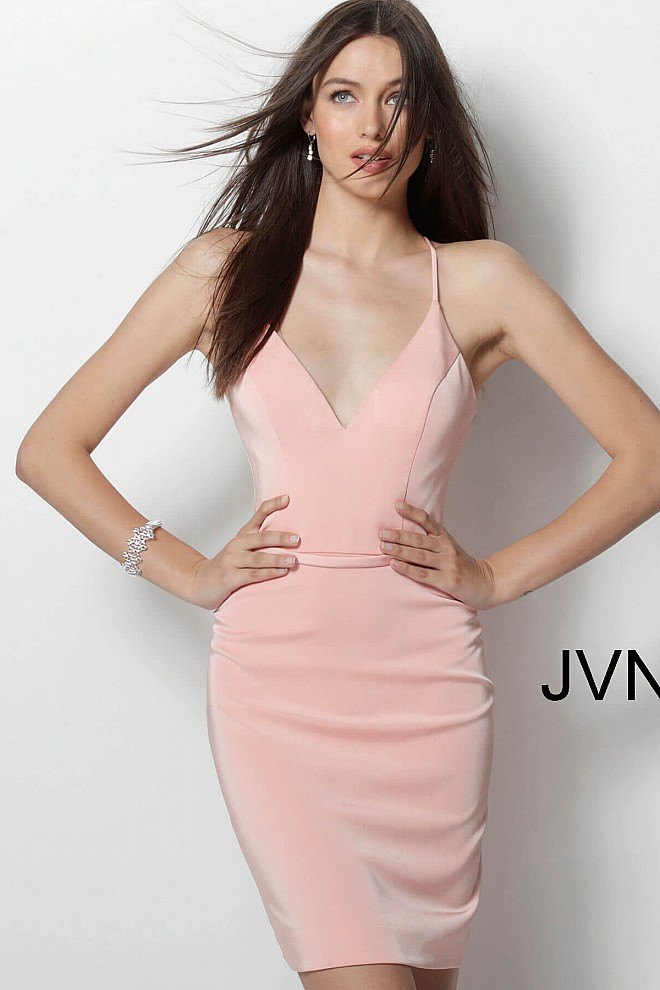 Blush V neck Fit Short Dress JVN66047