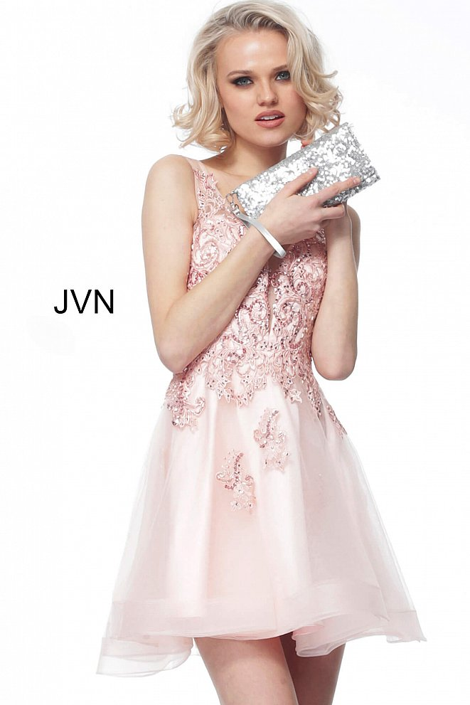 JVN66550 Blush Embroidered Fit and Flare Cocktail Dress