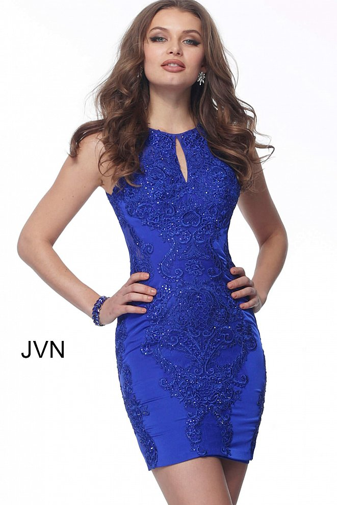 JVN66631 Royal Fitted Embellished Sleeveless Cocktail Dress