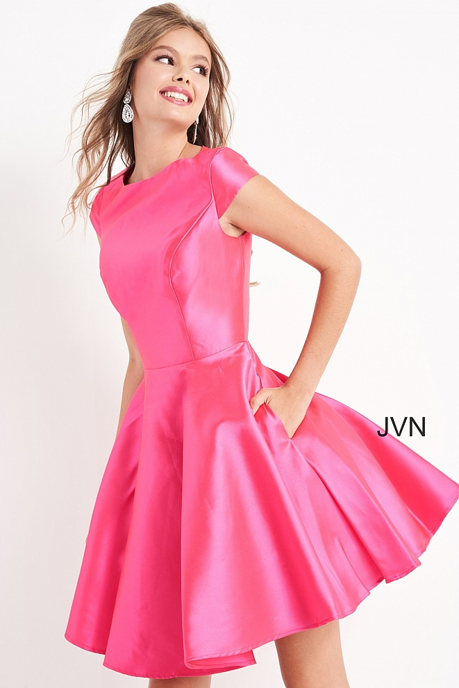 JVN00465 Fuchsia Fit and Flare Cap Sleeve Short Dress