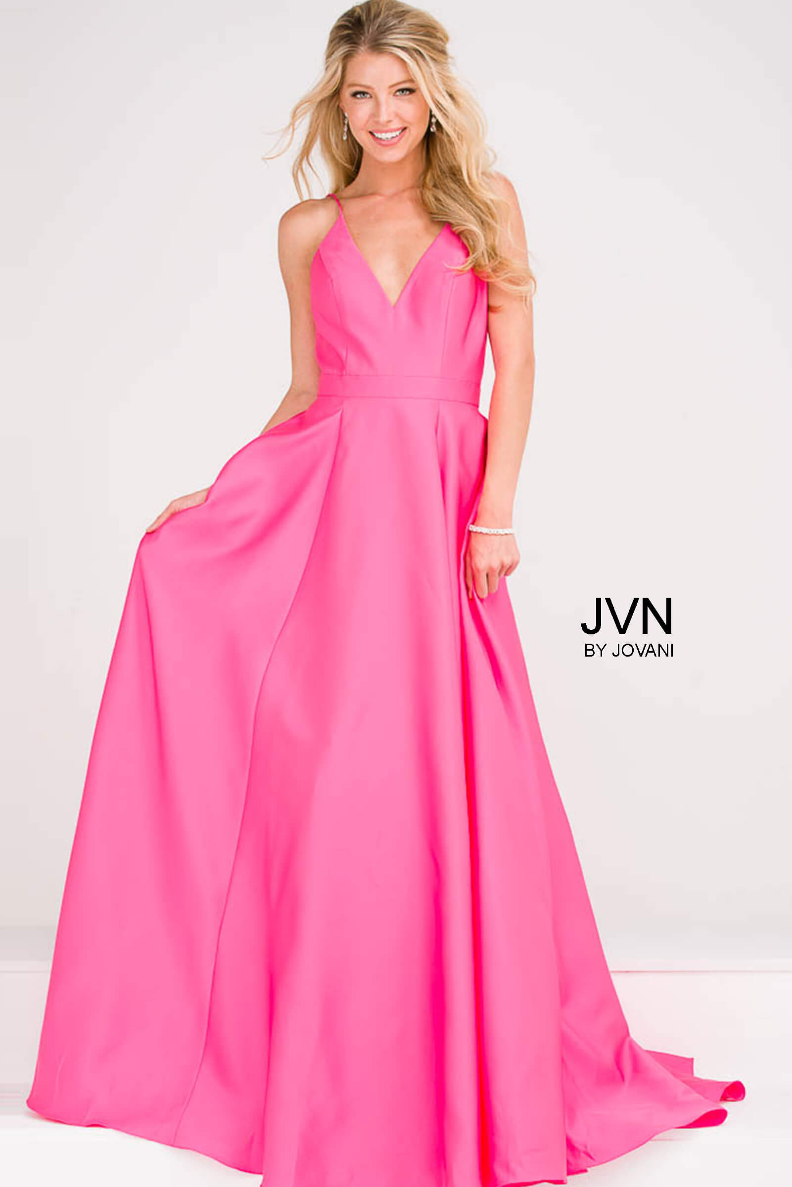 c5cf99327bc Black and Pink V neckline Pleated A line skirt and v neckline long  bridesmaid dress.