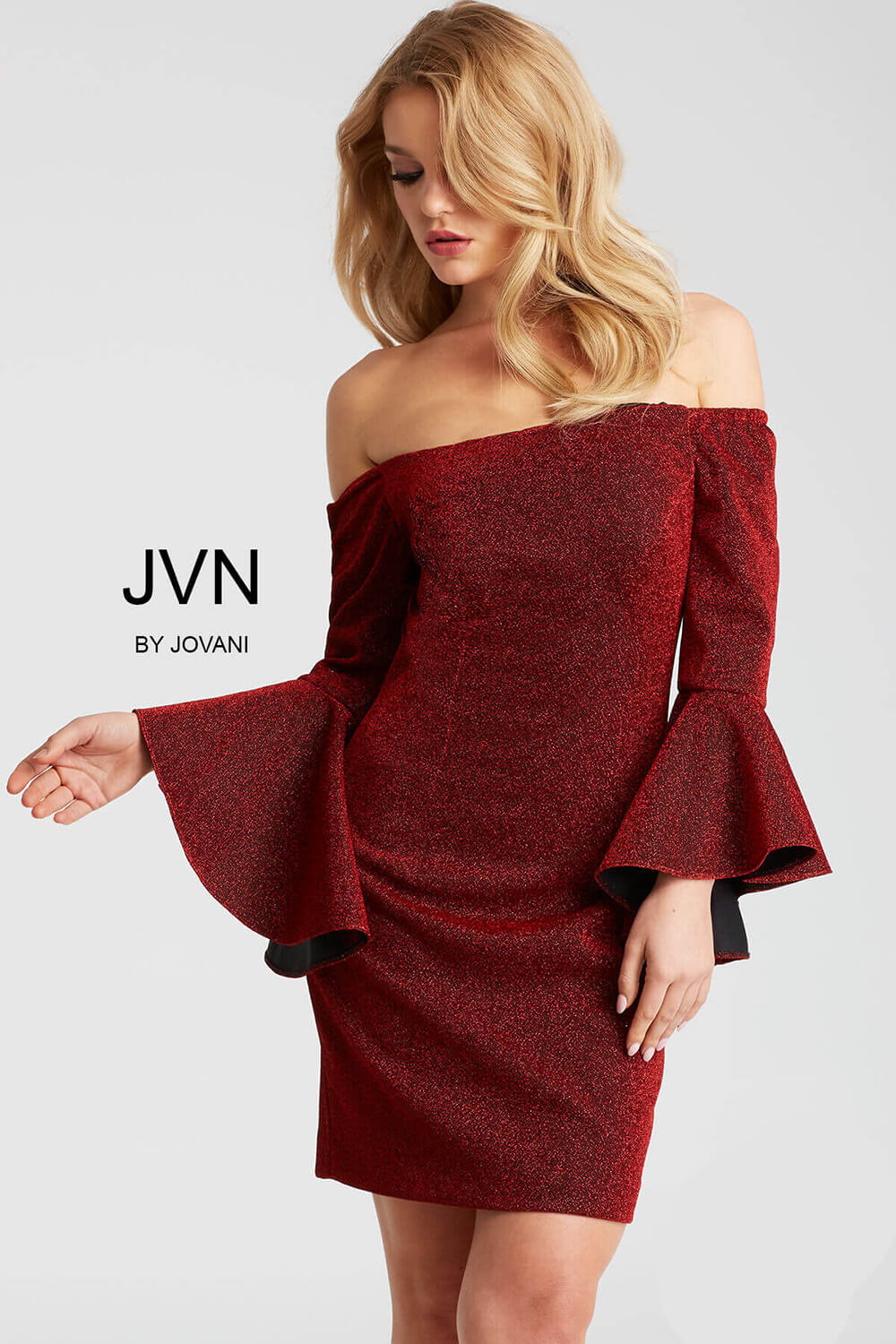 f020002441a Wine glitter fitted long bell sleeve off the shoulder short dress.