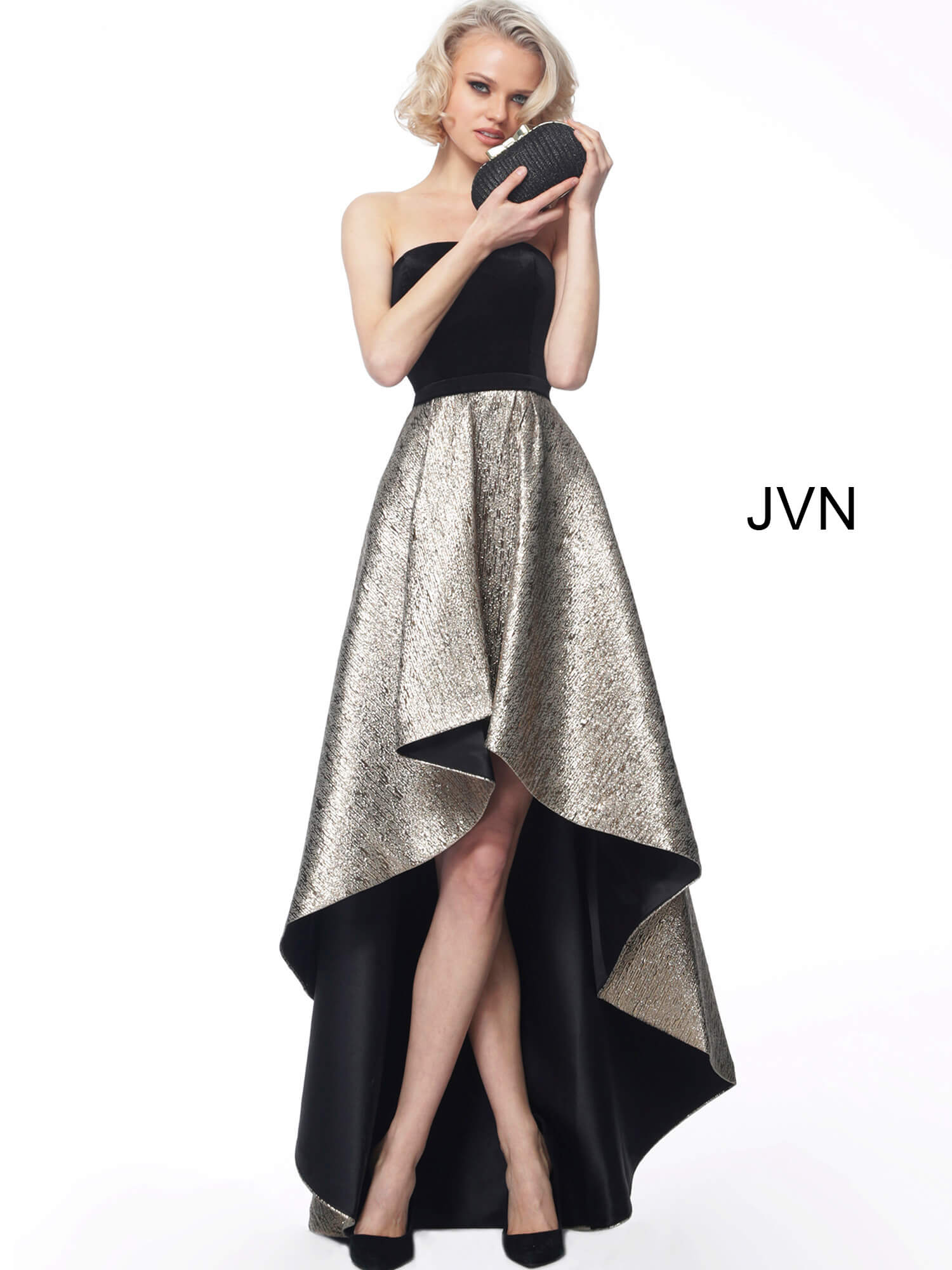 f4265bc0080d Black gold high low fit and flare straight neckline evening dress jvn60886.