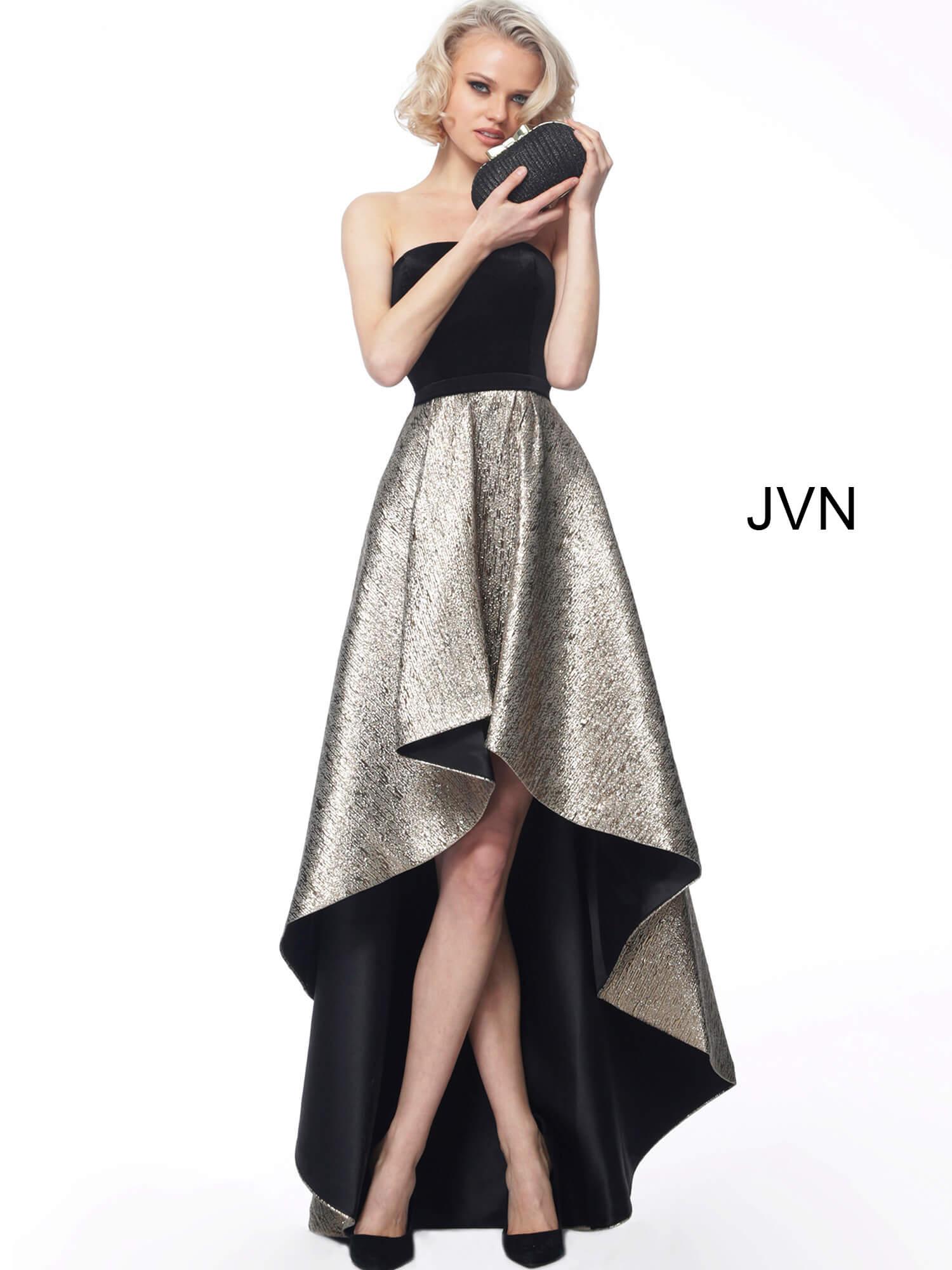 premium selection moderate price Official Website Black Gold Velvet Bodice High Low Evening Dress JVN60886