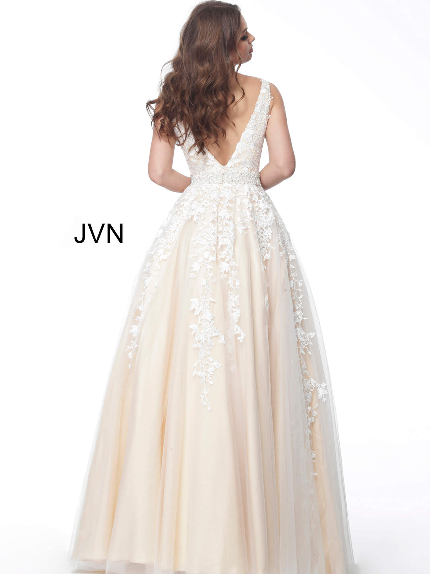 4d21906b1ddfa0 Off white nude long floral lace bodice plunging neck ballgown jvn68258.