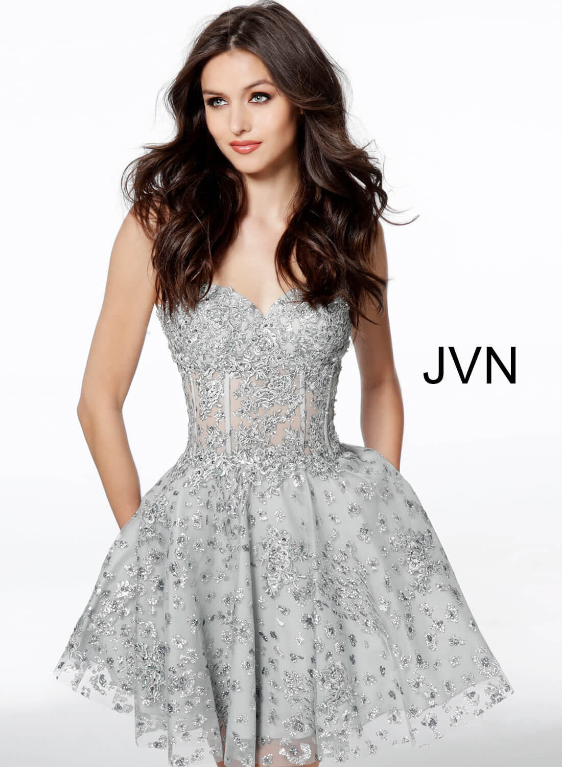 ac030b964e4 Silver short fit and flare embroidered boned bodice glitter dress.