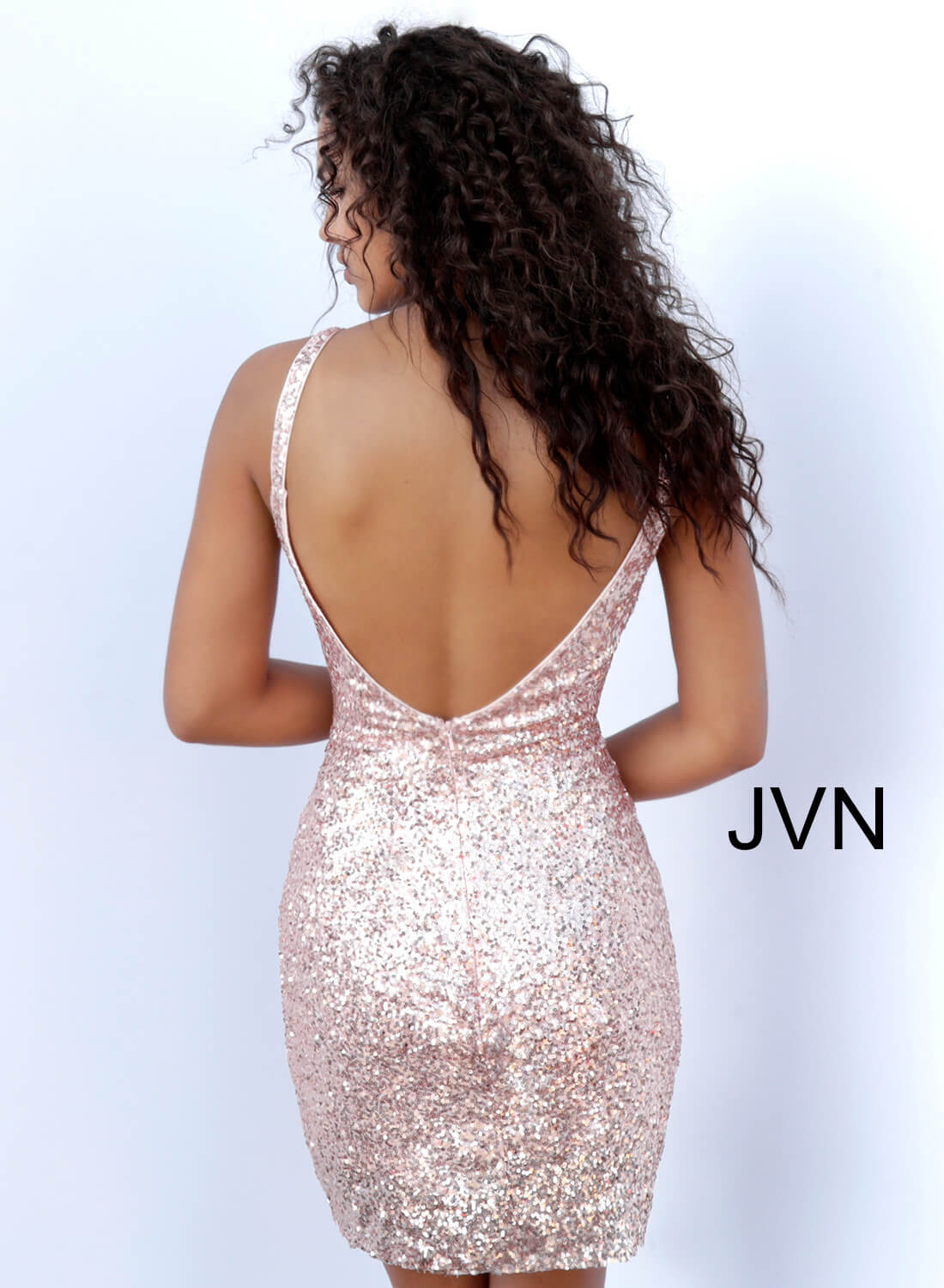 cd64a64db3 Rose gold short fitted sequin plunging neckline open back dress.