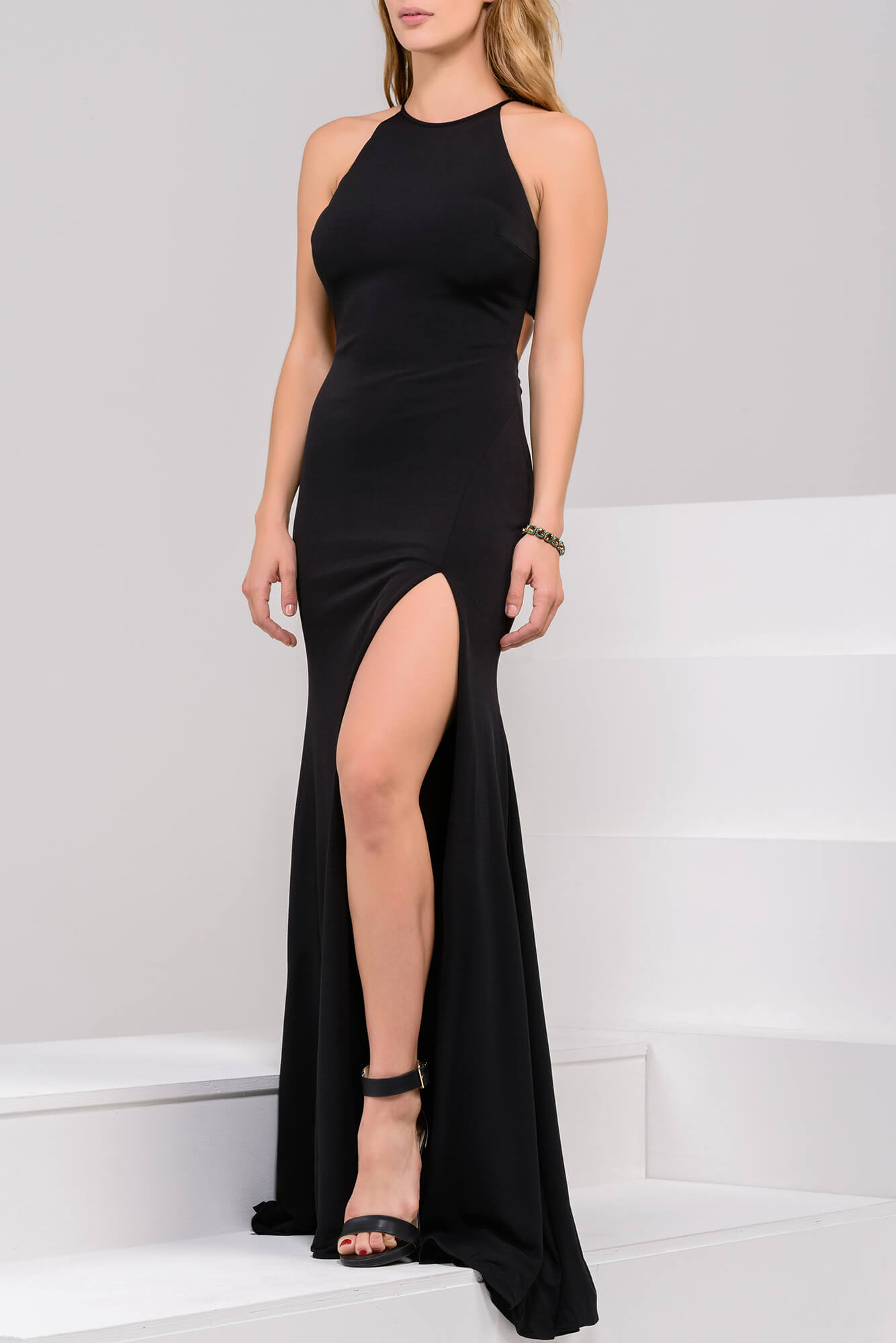 0be6730671a Red high slit jersey simple dress with moderate open back.