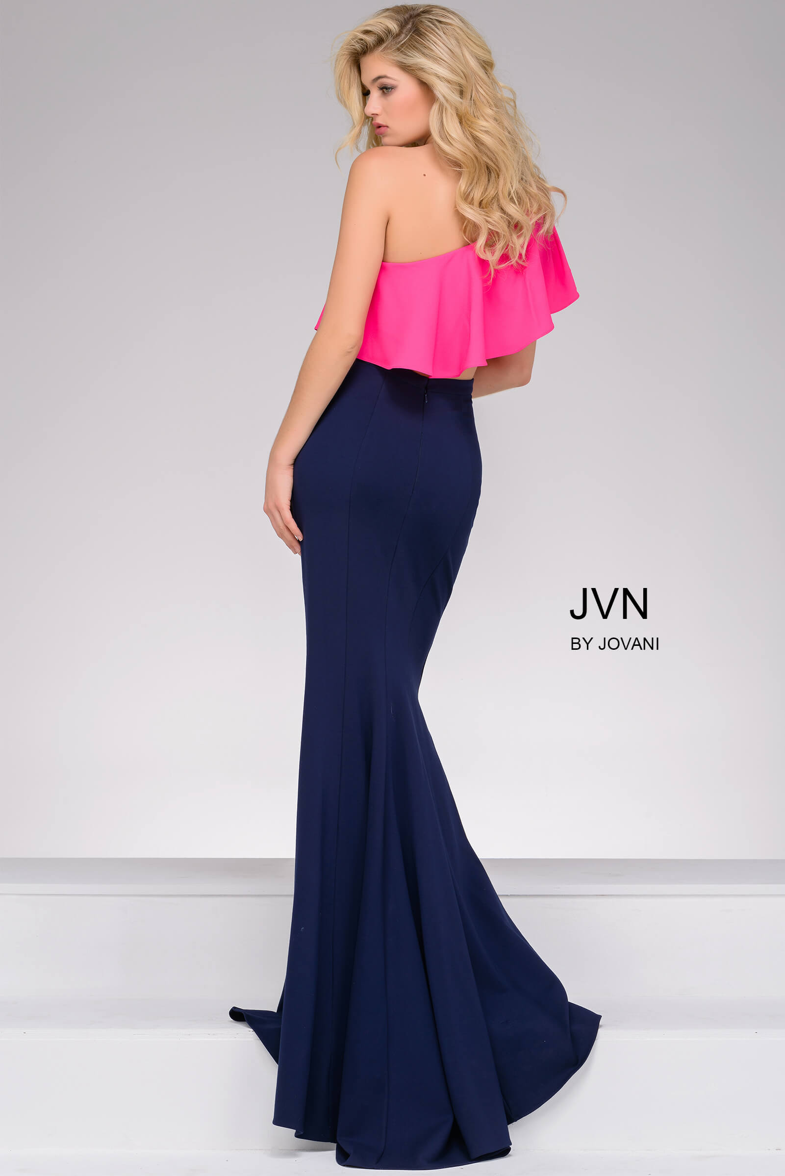 8ba3b99c5597 Navy and fuchsia two-piece long fitted dress with one shoulder.