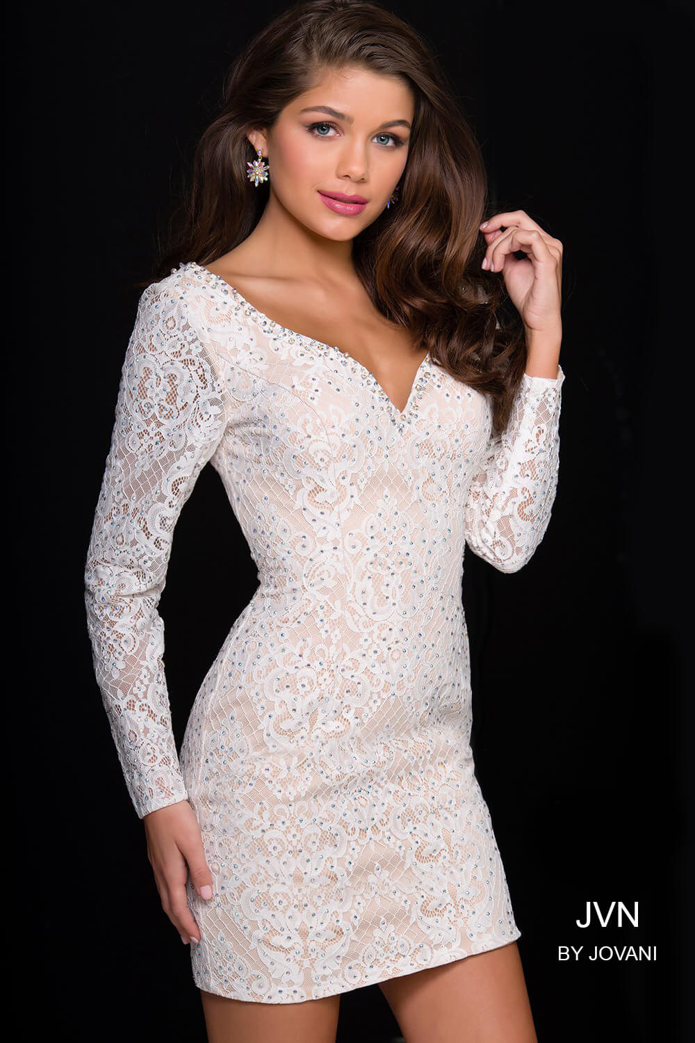 c94d14979c A Line Scoop Long Sleeves Short White Lace Homecoming Dresses – DACC