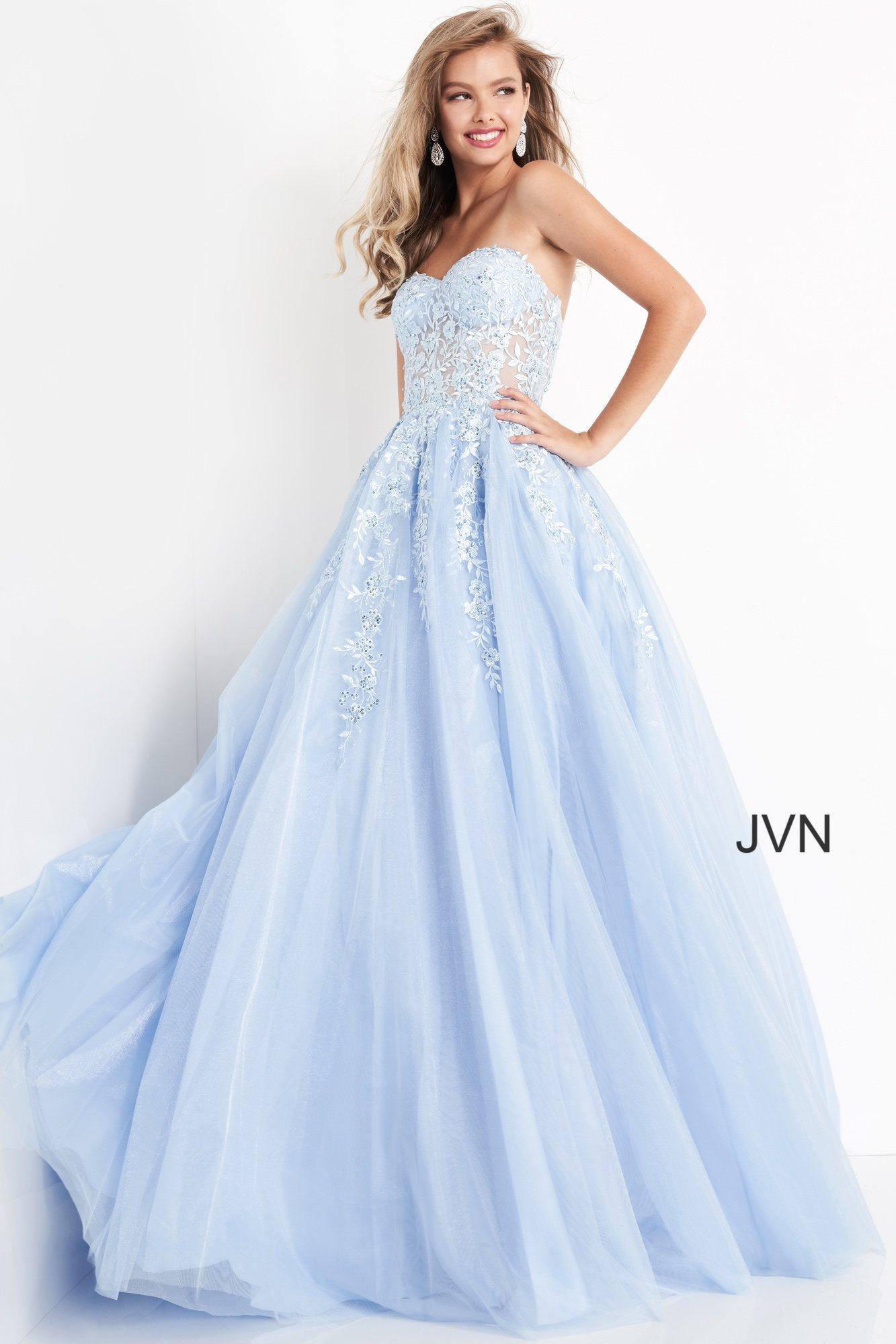 Jvn00915 Dress Jvn Emerald Strapless Embroidered Prom Ballgown