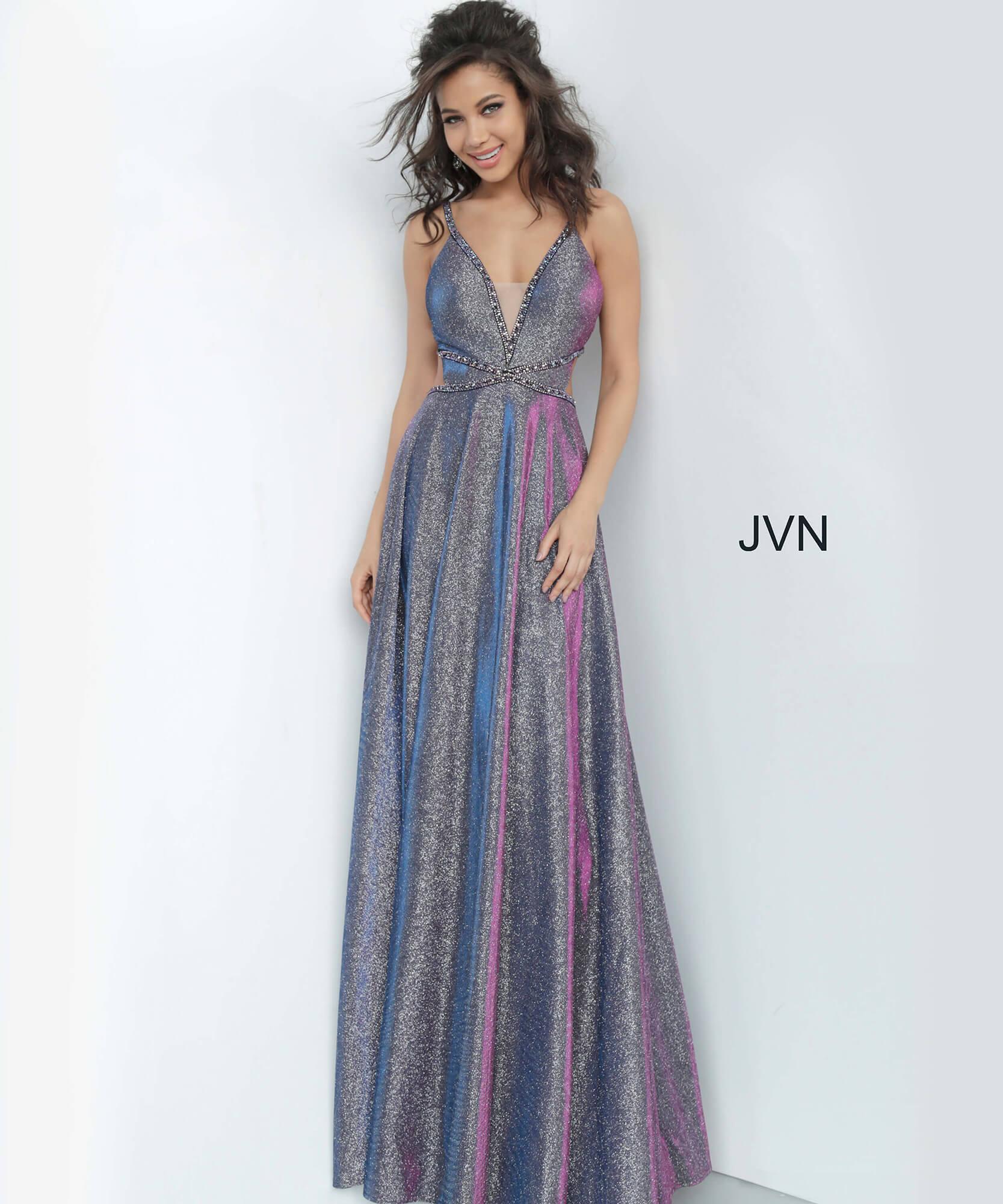 JVN4280 Purple V Neckline Open Back Prom Dress