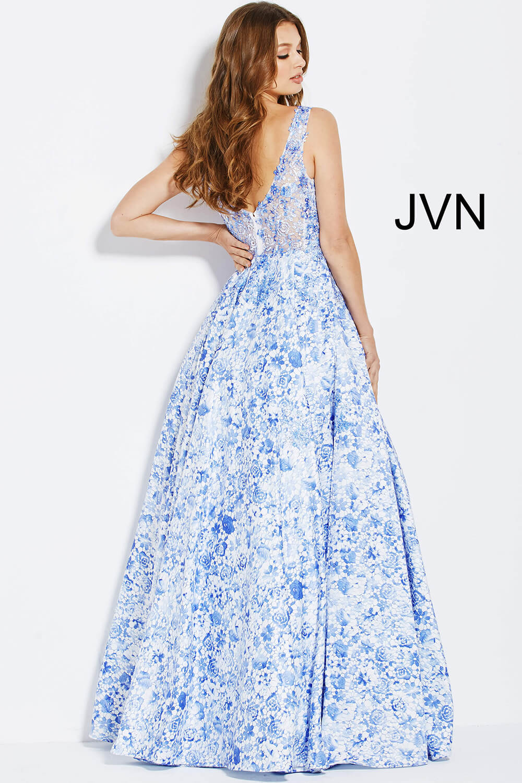 0e0011226660 White and blue sleeveless embroidery bodice and v neckline prom ballgown.