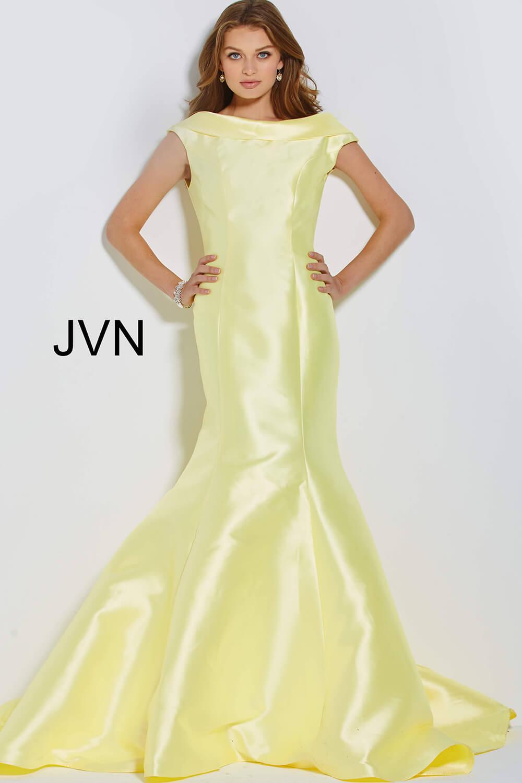 Yellow Mikado Boat Neck Mermaid Prom Gown Jvn60173: Mikado Boat Neck Wedding Dress At Websimilar.org