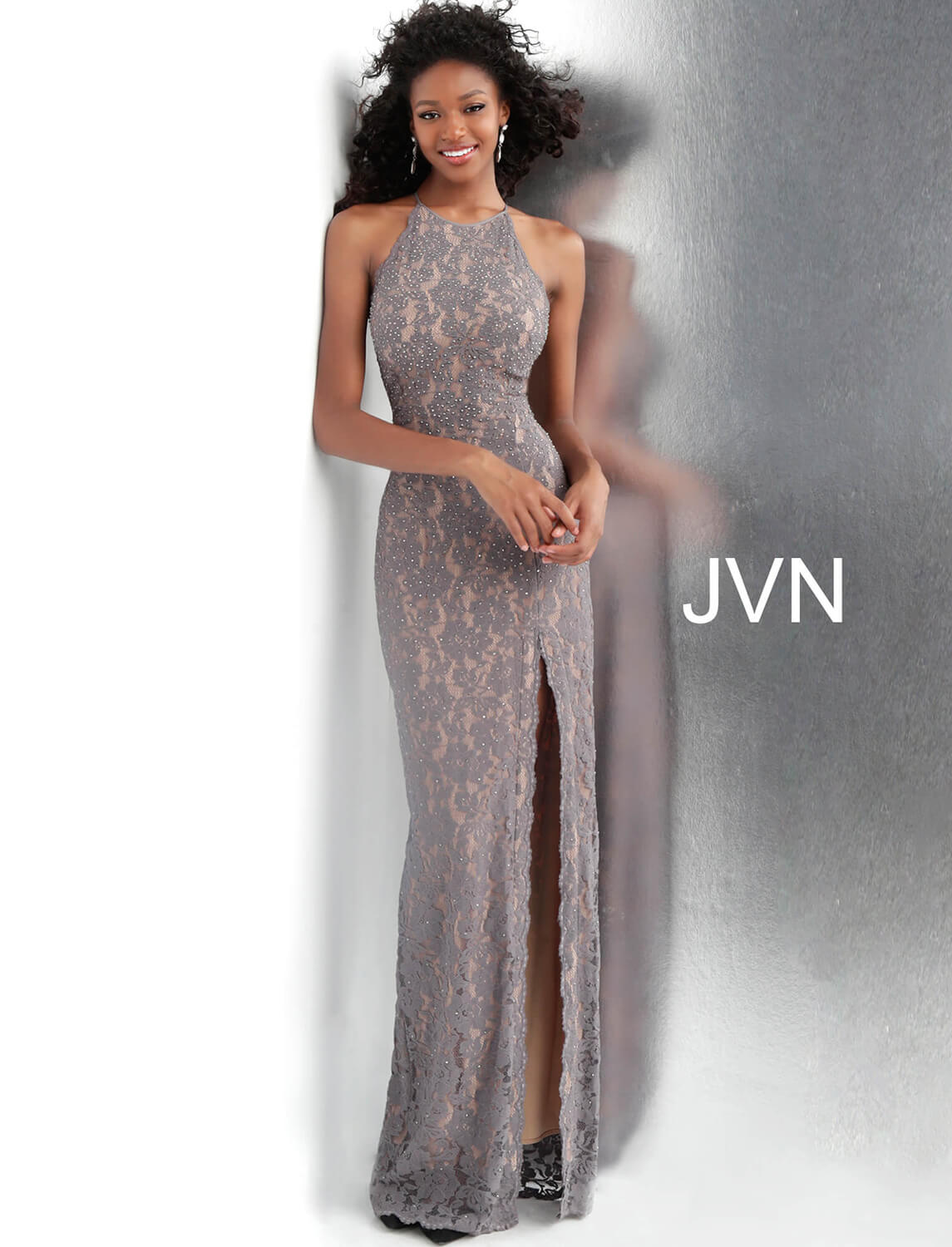 3b9bce08ca Grey and Nude Embellished Lace Sleeveless Fitted Prom Dress