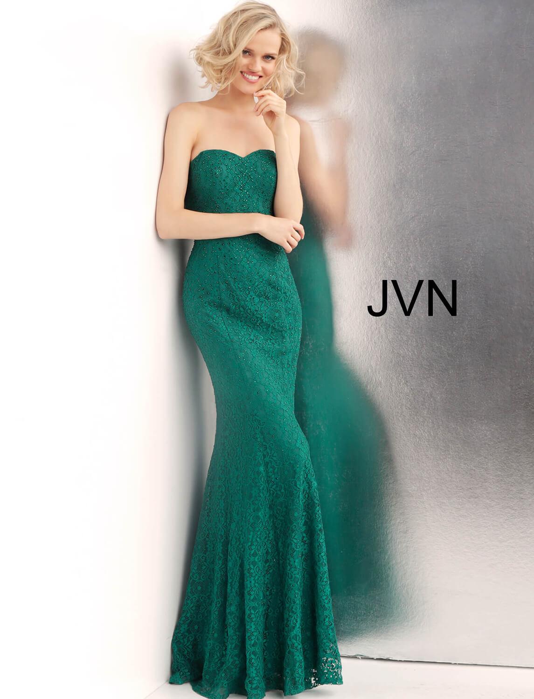 Jvn62712 Emerald Strapless Lace Prom Dress