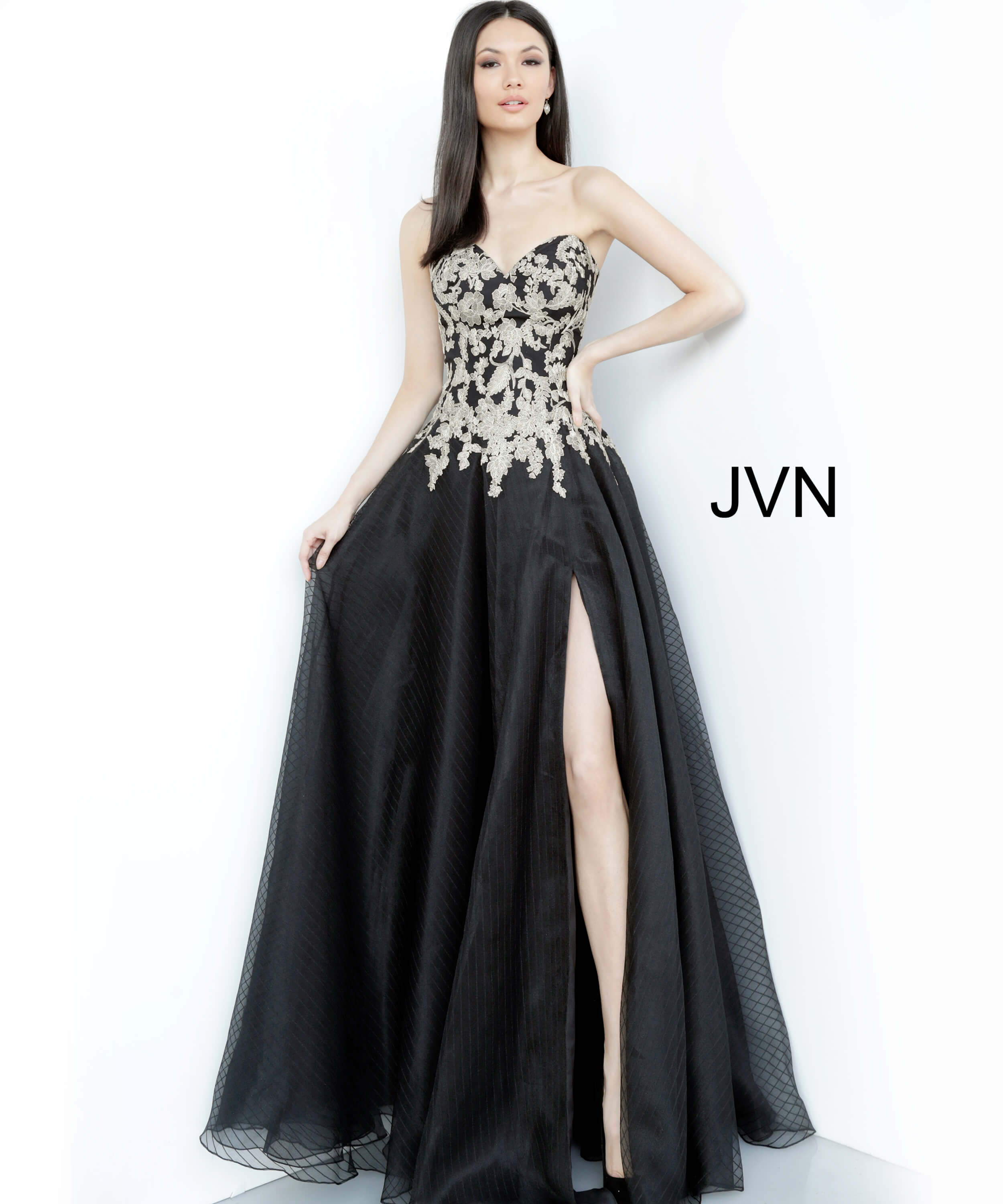 Jvn64088 Black Gold Strapless Embroidered Prom Gown