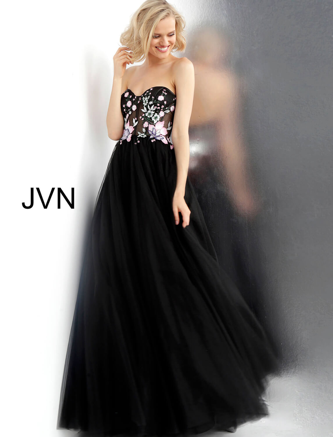 70d39c802f09 Black multi long floral embroidered sheer bodice with boning dress.