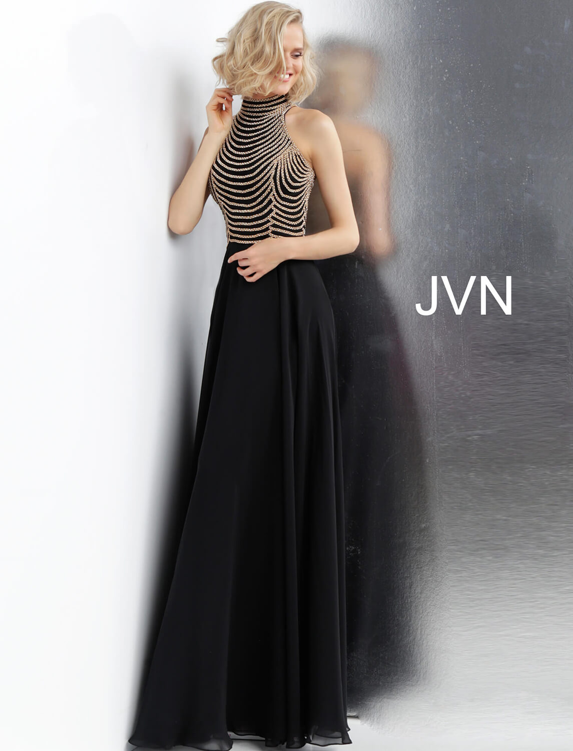 Jvn65987 Dress Black And Gold Embellished High Neck Sleeveless Prom Dress